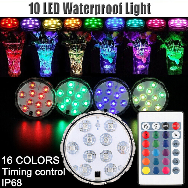 New 10leds RGB Led Underwater Light Pond Submersible IP67 Waterproof Swimming Pool Light Battery Operated for Wedding Party Outdoor   Wish